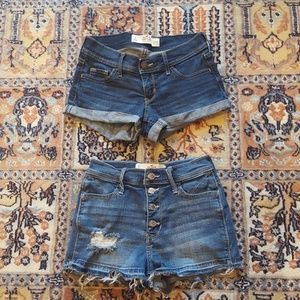 HOLLISTER set of 2 denim shorts size 0